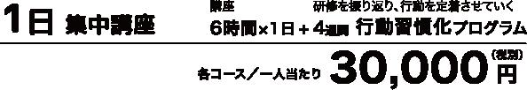 1日集中講座は各コース/1人当たり30,000円