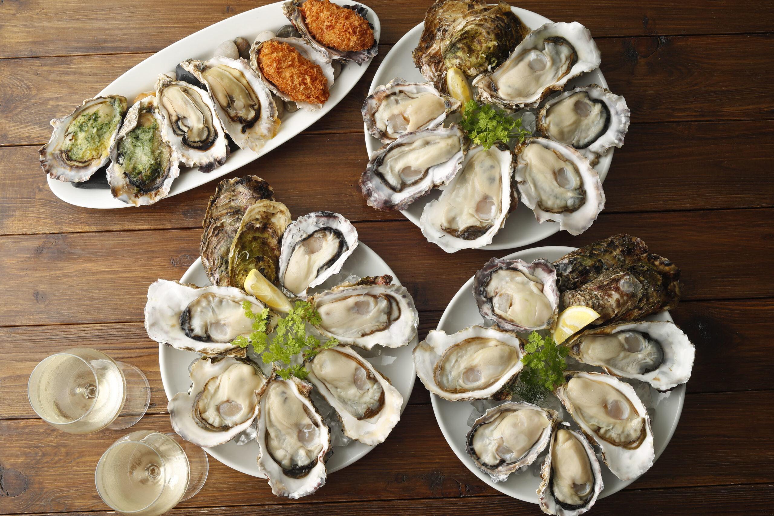 皿に盛り付けた生牡蠣