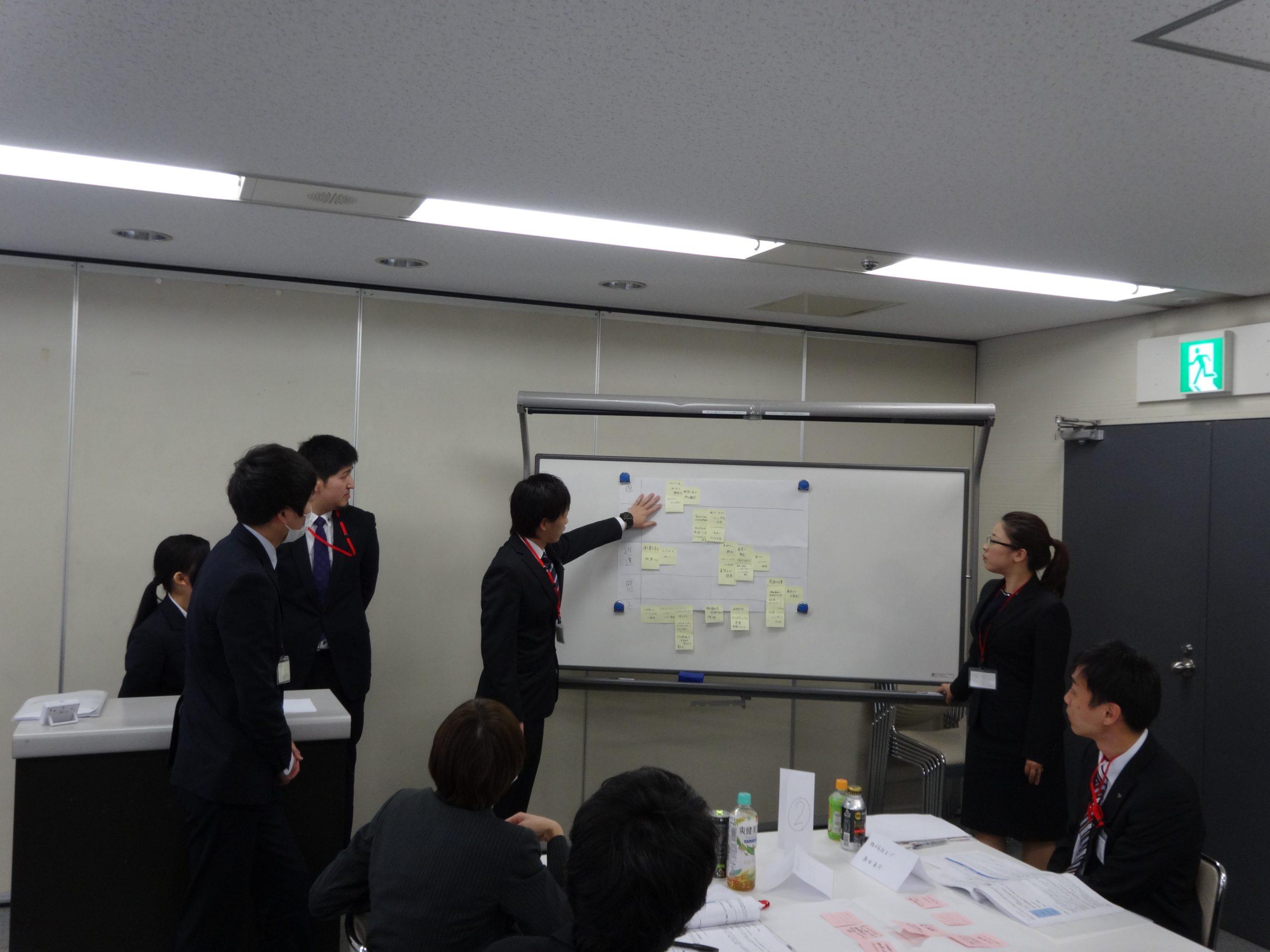秋吉しのぶさん参加の研修風景。グループで、ホワイトボードを使い、発表する場面。