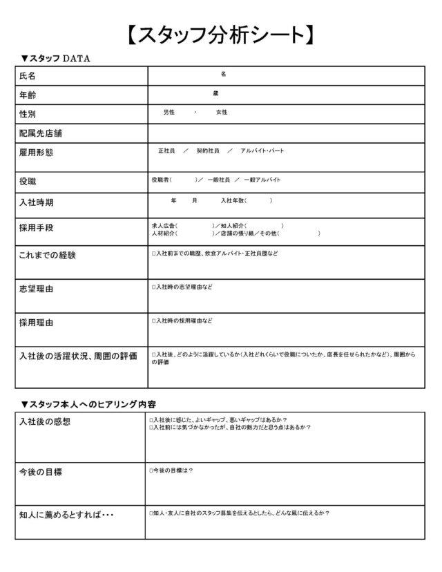 スタッフ分析シート