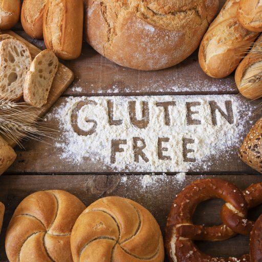 グルテンフリーの文字とパン