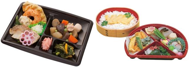 左側には健康バランス食の例。煮物や魚、揚げ物が入っている。右側にはお楽しみ行事食の例。わっぱに入ったごはんと、三食団子や食材を花や葉っぱに見立てたおかずが入っている。