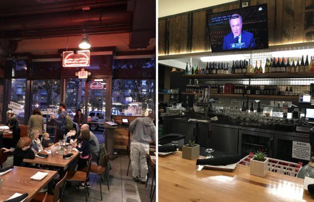 サンフランシスコにある「UMAMI BURGER」の店内の様子。左の写真は入り口付近に両親と3人の子供連れの家族が座って食事をしている。右の写真は壁にテレビがかけられており、棚にはたくさんのアルコールのビンが並んでいるカウンターの様子。