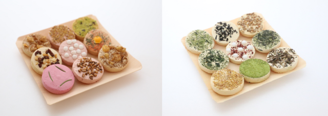 季節限定の色合い鮮やかな9個1セットの和菓子の写真