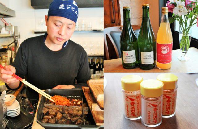 バンダナ姿の男性がおでんをよそおうとしている写真と、ビンに入ったジュース3本の写真と、「春の信州七味」が3本置かれている写真