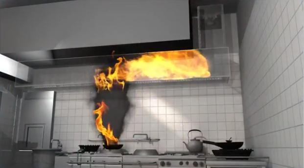 コンロの上に鍋が2つ置いてあり1つから炎の柱が上がっているイメージ写真