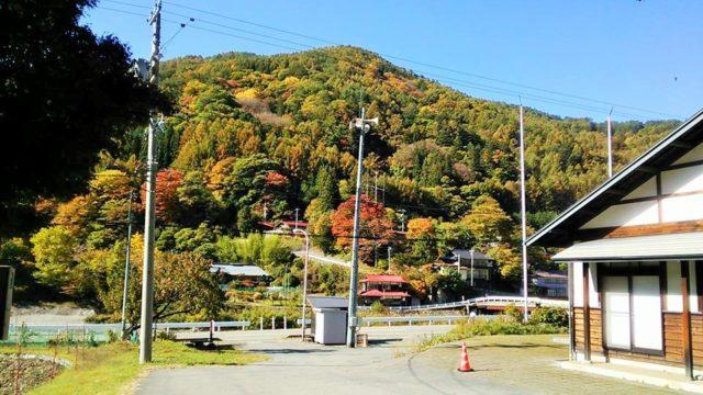 青空に山の緑が映えた写真