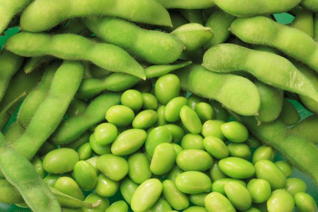 房に入った状態の枝豆と、むき出された枝豆の写真