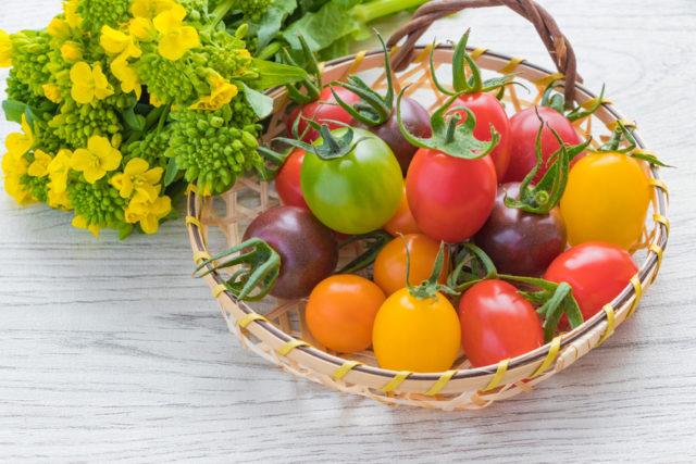 竹かごに色とりどりのトマトが盛られている写真