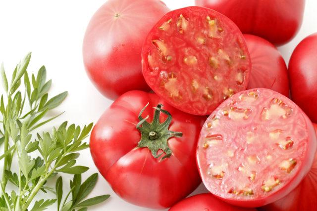 トマトが積まれており、断面がカットされたトマトがみずみずしく輝いている写真