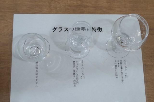 グラスの種類と特徴と書かれた紙の上に3種類のグラスが置かれている写真