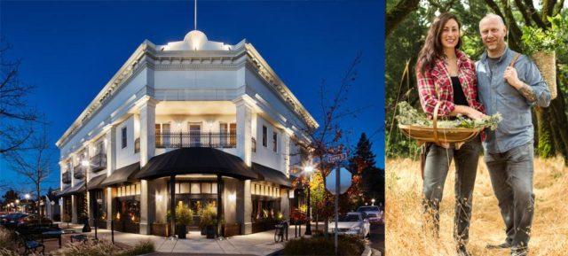 レストランの外観と・コナートン夫婦の写真