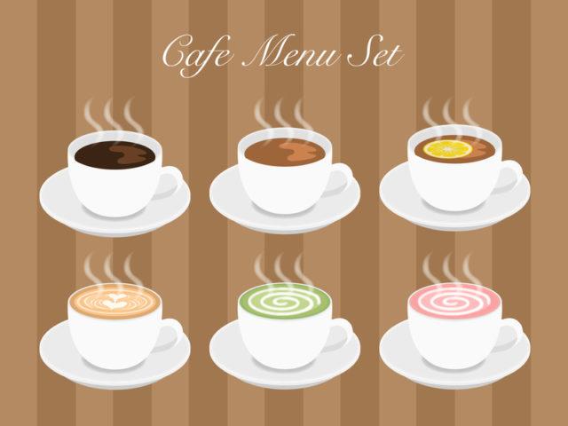 コーヒーや紅茶、ラテなどのイラストが描かれたカフェのイメージ画像