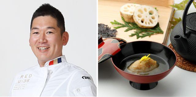 「日本の宿 のと楽 宵待」川嶋亨さんと料理の写真