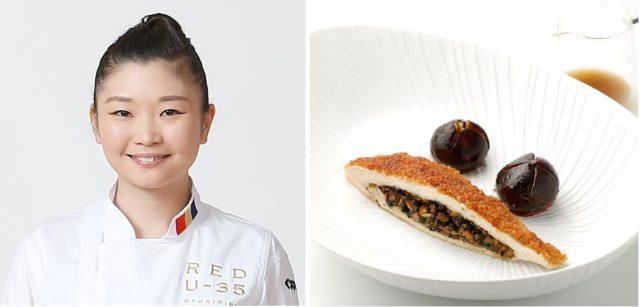 「Restaurant Peir PIEERE GAGNAIRE」小林珠季さんと料理の写真
