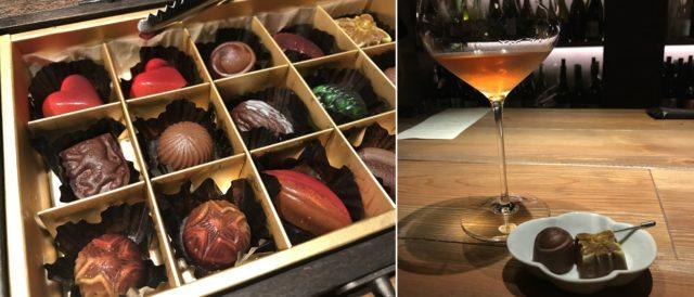 バーのカウンターに置かれたグラスとチョコレートの画像と箱詰めされたチョコレートの画像