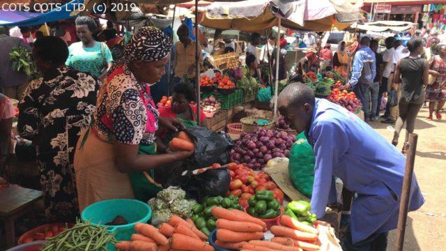 首都カンパラの市場には、色鮮やかなさまざまな野菜が並ぶ