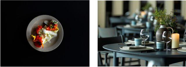 料理が盛り付けられた写真と、テーブルに食器が置かれている写真