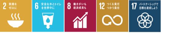 「SDGs」の目標の2,6,8,12,17の画像