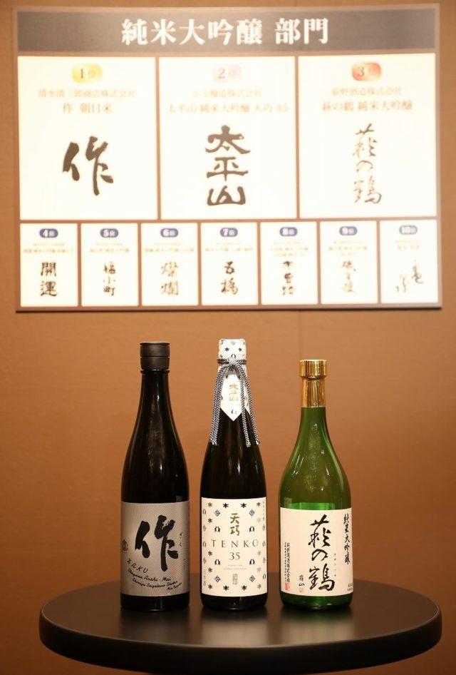 純⽶⼤吟醸部⾨のベスト3の酒瓶の写真