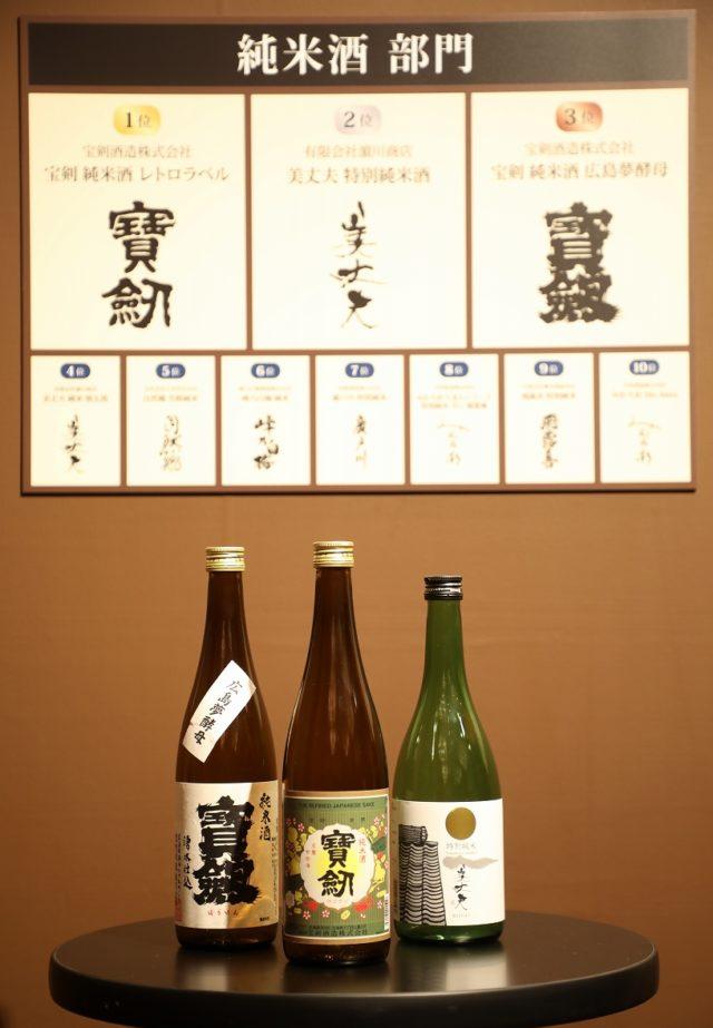 純⽶酒部⾨のベスト3の酒瓶の写真