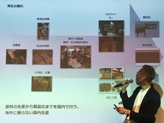 「530week conference 2019」で北村さんがプロジェクターを見ながら説明している様子