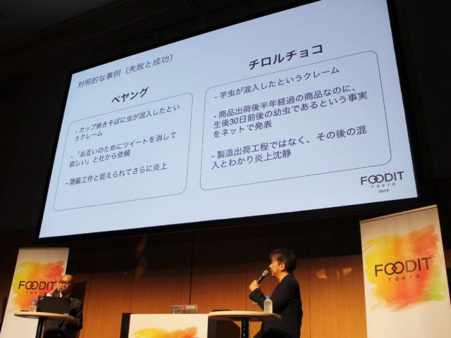 ある食品メーカー2社の、炎上後の対応を比較のスライドの写真
