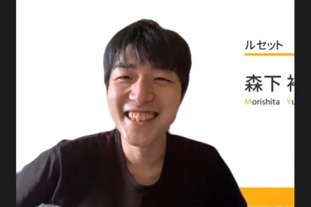オンライン座談会でご自身の経歴について笑顔で語る森下さんの写真