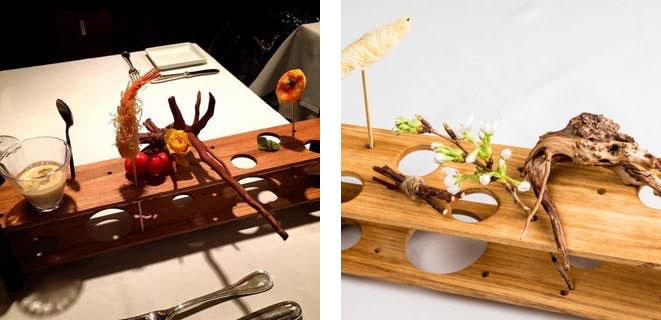 料理に活かされている小森さんの生け花の写真
