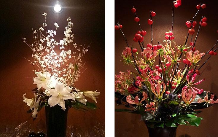 店内に生けられた生け花の作例2枚