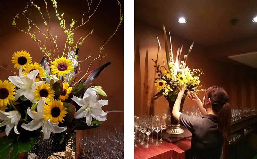 「Recette(ルセット)」店内に生けられている1.5mほどの高さにもなる生け花