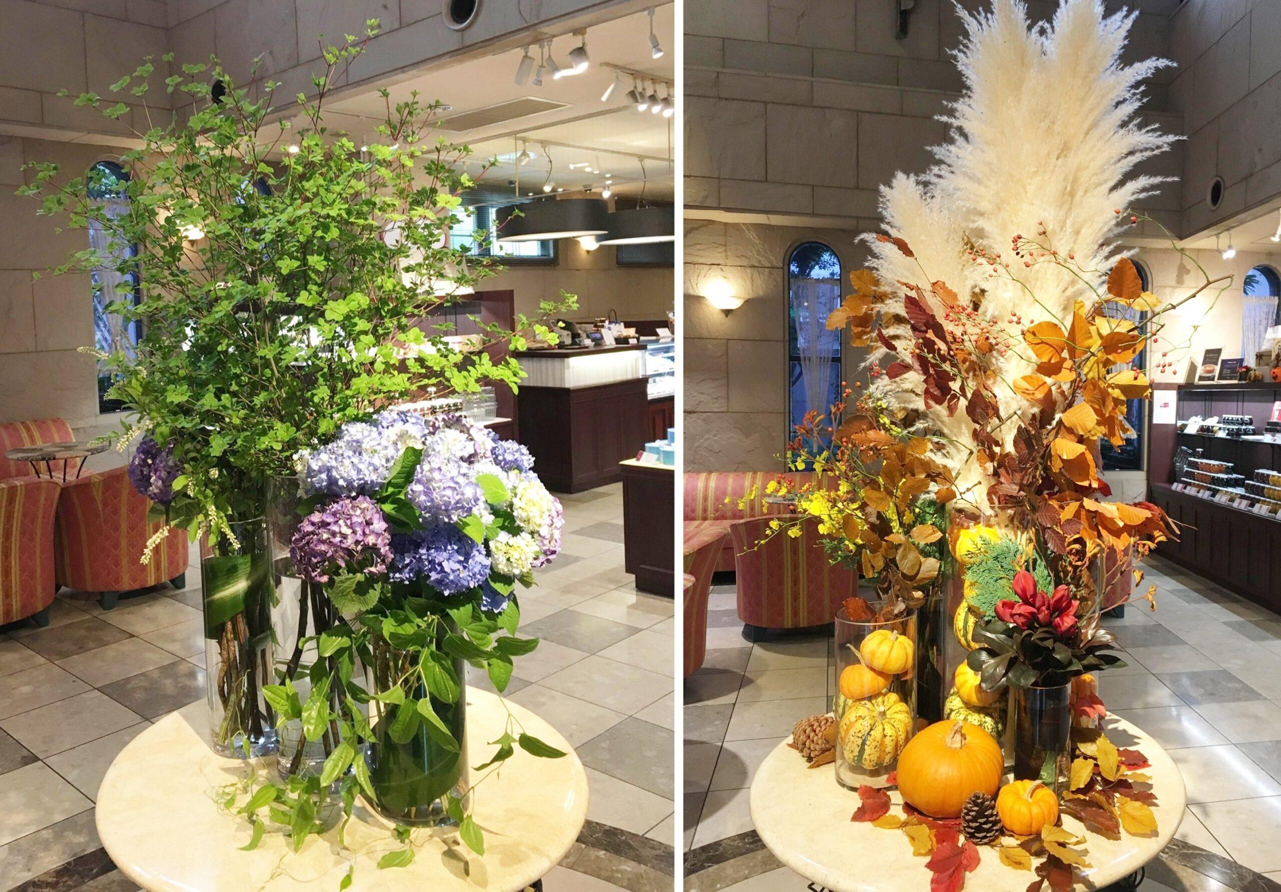 夏や秋を連想させる、季節を感じる店内ディスプレイの例の写真