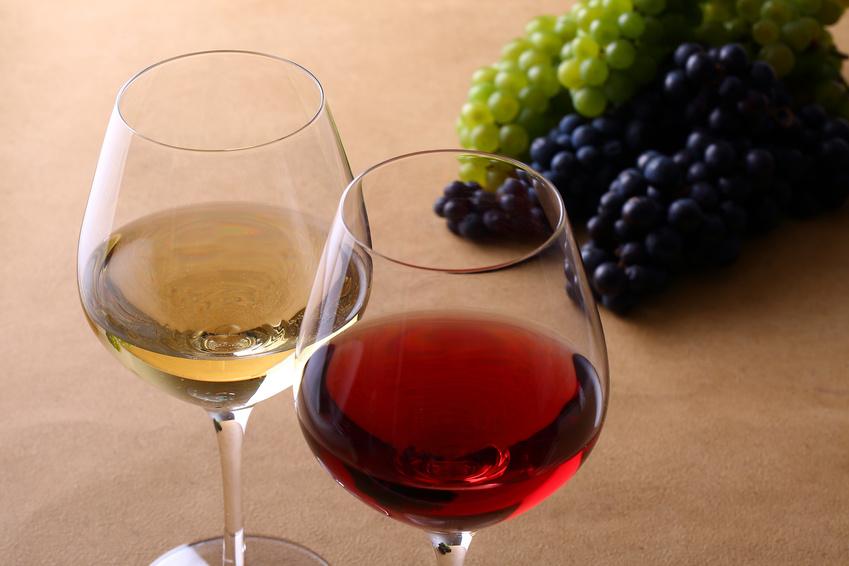 イメージ画像:ワイングラスに注がれた赤ワインと白ワインの写真