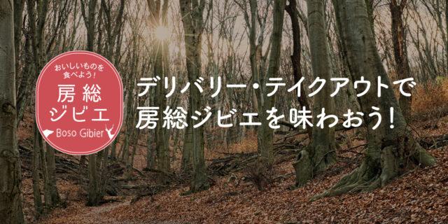 「デリバリー・テイクアウトで房総ジビエを味わおう!」と書かれた山林のイメージ画像