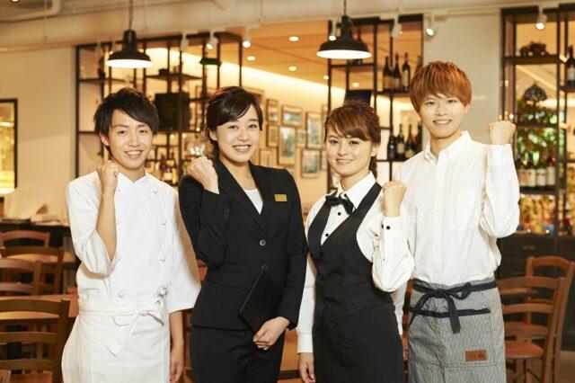 イメージ画像:レストランの店内で男女のマネージャーや料理人、サービススタッフ4名の集合写真