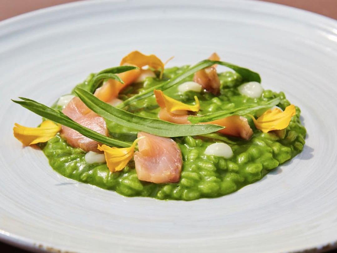 緑色の鮮やかなリゾットのような料理の写真
